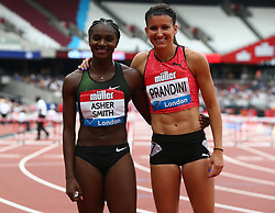 July 22, 2018 - London, United Kingdom - Dina Asher-Smith of Great Britain and Northern Ireland and Jenna Prandini  of USA winner after the 200m Women.during the Muller Anniversary Games Day One at The London Stadium on July 22, 2018 in London, England. (Credit Image: © Action Foto Sport/NurPhoto via ZUMA Press)