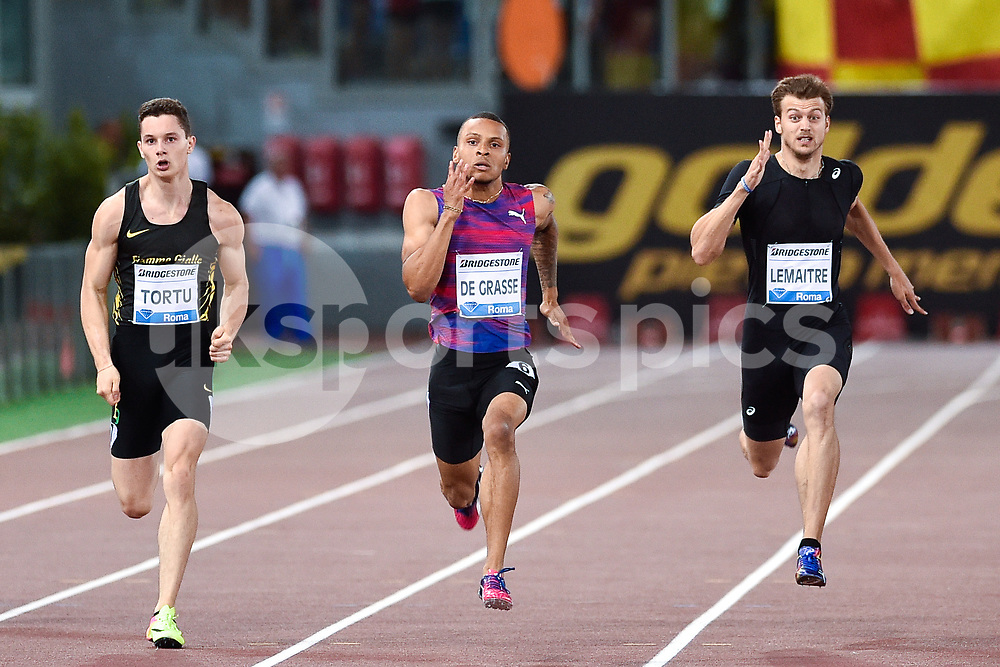 Filippo Tortu of Italy, Andre de Grasse of Canada and Christophe Lemaitre of France compete in the Men's 200 m during the IAAF Diamond League Golden Gala Pietro Mennea at Stadio Olimpico, Rome, Italy on 8 June 2017. Photo by Giuseppe Maffia.