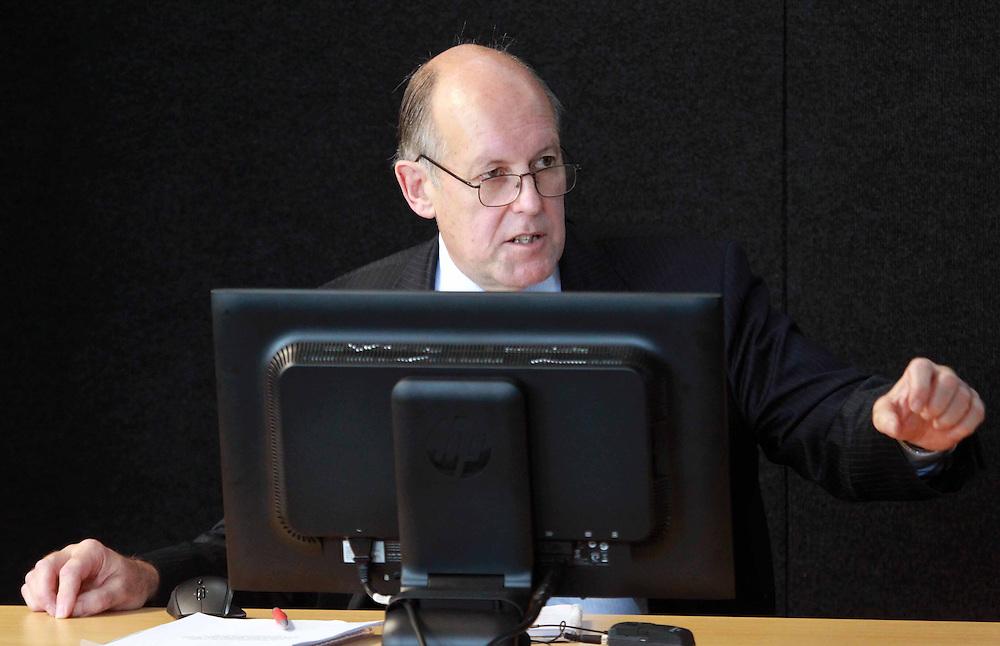 Richard Sharpe of BECA comments on the presentation by Dr Rajesh Dhakal, associate professor Department of Civil and Natural Resources Engineering at the University of Canterbury at the Canterbury Earthquakes Royal Commission, Christchurch, New Zealand, Tuesday, February 28, 2012. Credit:SNPA / The Press, Dean Kozanic **POOL**
