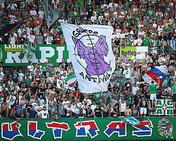 09.08.2015, Ernst Happel Stadion, Wien, AUT, 1. FBL, SK Rapid Wien vs RZ Pellets WAC, 3. Runde, im Bild Block West // during a Austrian Football Bundesliga Match, 3rd Round, between SK Rapid Vienna and RZ Pellets WAC at the Ernst Happel Stadion, Wien, Austria on 2015/08/09. EXPA Pictures © 2015, PhotoCredit: EXPA/ Thomas Haumer