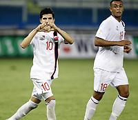 Fotball<br /> VM-kvalifisering<br /> 16.10.2012<br /> Kypros v Norge 1:3<br /> Foto: Savvides/Digitalsport<br /> NORWAY ONLY<br /> <br /> Joshua King (R) og Tarik Elyounoussi feirer 2:1 til Norge