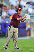 FORT WORTH, TX - SEPTEMBER 13:  Minnesota Golden Gophers head coach Jerry Kill has words with an official against the TCU Horned Frogs on September 13, 2014 at Amon G. Carter Stadium in Fort Worth, Texas.  (Photo by Cooper Neill/Getty Images) *** Local Caption *** Jerry Kill