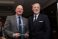 09/02/2017 - Dundee director Bob Hynd presents Gordon Flavell with his father Bobby Flavell's Golden Era Award at Dundee FC Hall of fame dinner at the Invercarse Hotel, Dundee  Picture by David Young -