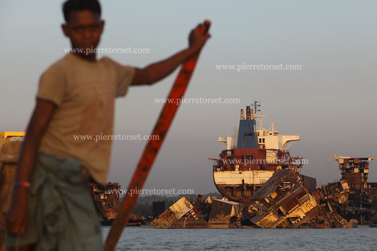 View of a shipbreaking yard since a fisherman boat. Local fishermen are suffering from this industry : pollution is contaminating the whole seashore and ecosystem.