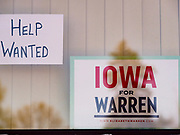 26 APRIL 2019 - TIPTON, IOWA: Signs in the window of the Tipton Family Restaurant in Tipton, IA. Iowa has one of the lowest unemployment rates in the country. Sen Warren campaigned in Tipton Friday. Sen. Warren is campaigning in eastern Iowa Friday. Iowa traditionally hosts the the first selection event of the presidential election cycle. The Iowa Caucuses will be on Feb. 3, 2020.                 PHOTO BY JACK KURTZ