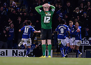 Sam Lucas celebrates giving Chesterfiled a 1-0 lead during the The FA Cup match between Chesterfield and Scunthorpe United at the b2net stadium, Chesterfield, England on 13 January 2015. Photo by Simon Kimber.