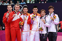 Cai and Fu, China, Gold, Mens Doubles Final, Boe and Mogensen Silver, Chung and Lee Bronze, Badminton London Wembley 2012