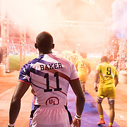 Perry Baker of the United States walks out of the tunnel as the United States face Australia in pool play at the USA Sevens, 5th round of the HSBC World Sevens Series in Las Vegas, Nevada. U.S.A. Friday March 2, 2018.<br />