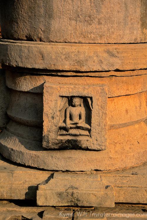 Asia, India, Sarnath. Tiny Buddha in stone.