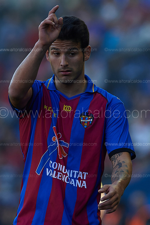 VALENCIA, SPAIN - JANUARY 05: Ruben Garcia of Levante UD gestures during the Liga BBVA between Levante UD and Athletic Club de Bilbao at the Ciutat de Valencia Stadium on January 05, 2013 in Valencia, Spain. (Photo by Aitor Alcalde Colomer).