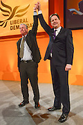 © Licensed to London News Pictures. 10/03/2013. Brighton, UK. Mike Thornton (L) and Nick Clegg, Liberal Democrat Leader and Deputy Prime Minister after Mr Clegg delivers his keynote speech to the Liberal Democrat Spring Conference in Brighton today 10th March 2013. Photo credit : Stephen Simpson/LNP