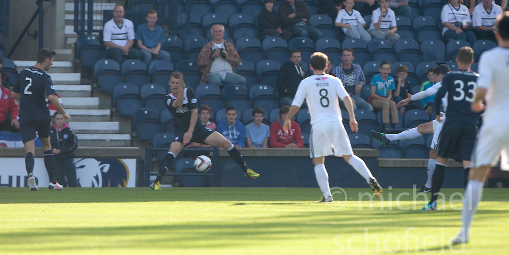 Raith Rovers Grant Anderson (11) scoring their goal.<br /> Half time : Raith Rovers 1 v 0 Falkirk, Scottish Championship 28/9/2013.<br /> &copy;Michael Schofield.