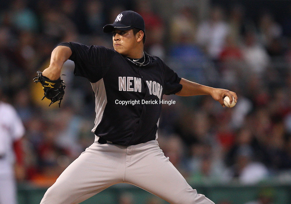 March 14, 2011; Fort Myers, FL, USA; New York Yankees starting pitcher Manuel Banuelos (92) during a spring training exhibition game against the Boston Red Sox at City of Palms Park.   Mandatory Credit: Derick E. Hingle