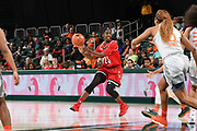 January 25, 2018: Jazmine Jones #23 of Louisville in action during the NCAA basketball game between the Miami Hurricanes and the Louisville Cardinals in Coral Gables, Florida. The Cardinals defeated the 'Canes 84-74.