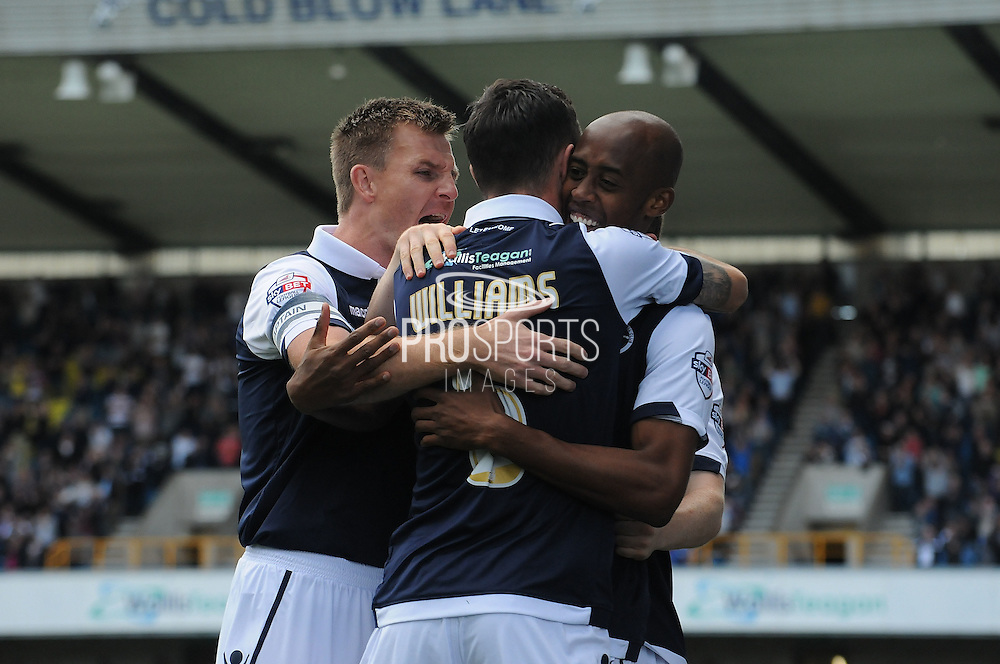 Jimmy Abdou leads the celebrations during the Sky Bet League 1 match between Millwall and Rochdale at The Den, London, England on 26 September 2015. Photo by Michael Hulf.