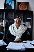 Ms Habiba Sarabi, 54, the Governor of Bamyan Province, is portrayed while sitting at her desk. In 2005, she was appointed as Governor President Hamid Karzai, becoming the first woman to ever be a governor of any province in the country. As governor, she has announced one of her focuses will be on tourism as a source of income. The province has historically been a source of Buddhist culture. However, Bamiyan continues to remain one of the most under-developed provinces.