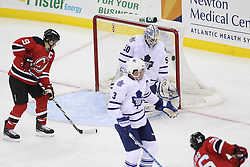 Nov 2; Newark, NJ, USA; New Jersey Devils center Patrik Elias (26) scores a goal past Toronto Maple Leafs goalie Jonas Gustavsson (50) during the second period at the Prudential Center.
