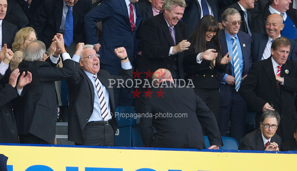 LIVERPOOL, ENGLAND - Sunday, October 17, 2010: Everton's chairman Bill Kenwright celebrates a 2-0 victory over Liverpool during the 214th Merseyside Derby match at Goodison Park. (Photo by David Rawcliffe/Propaganda)