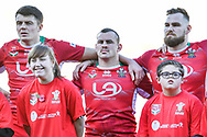 11th November 2018 , Racecourse Ground,  Wrexham, Wales ;  Rugby League World Cup Qualifier,Wales v Ireland ; Steve Parry of Wales during the National Anthems<br /> <br /> <br /> Credit:   Craig Thomas/Replay Images