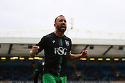 Bristol City striker, Aaron Wilbraham (18) celebrates putting Bristol 2-1 up during the Sky Bet Championship match between Blackburn Rovers and Bristol City at Ewood Park, Blackburn, England on 23 April 2016. Photo by Pete Burns.