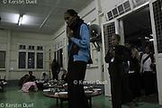 Daily routine in the Mahasi Sasana Yeiktha centre: Entering the breakfast hall at 5:30 - Burmese lay meditators