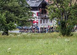 12.07.2019, Kitzbühel, AUT, Ö-Tour, Österreich Radrundfahrt, 6. Etappe, von Kitzbühel nach Kitzbüheler Horn (116,7 km), im Bild Das Peleton bei Schwendt in Tirol // the peleton climbs the road to Schwendt Tyrol during 6th stage from Kitzbühel to Kitzbüheler Horn (116,7 km) of the 2019 Tour of Austria. Kitzbühel, Austria on 2019/07/12. EXPA Pictures © 2019, PhotoCredit: EXPA/ Reinhard Eisenbauer