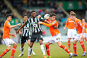 Plymouth Argyle's Jamille Matt and Luton Town's Alan Sheehan battle for the ball during the Sky Bet League 2 match between Plymouth Argyle and Luton Town at Home Park, Plymouth, England on 19 March 2016. Photo by Graham Hunt.