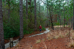 January 19, 2019 - Southern Pines, North Carolina, US - Jan. 19, 2019 - Southern Pines N.C., USA - Danny Morreale, Charlotte, North Carolina, completes a lap during the 10th Annual Weymouth Woods 100km ultra marathon at the Weymouth Woods Nature Preserve. Runners needed to complete 14 laps of the 4.47 mile course for 62.58 miles in under the 20-hour time allotment. (Credit Image: © Timothy L. Hale/ZUMA Wire)