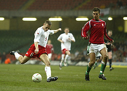CARDIFF, WALES - WEDNESDAY FEBRUARY 9th 2005: Wales' Craig Bellamy scores his second goal against Hungary' during the International Friendly match at the Millennium Stadium. (Pic by Jason Cairnduff/Propaganda)