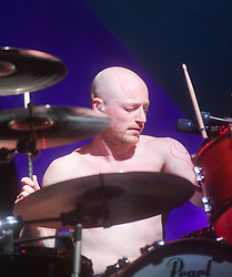 Ben Johnstone of Biffy Clyro headline Sunday night on the main stage..Sunday at Rockness 2012..©Michael Schofield..