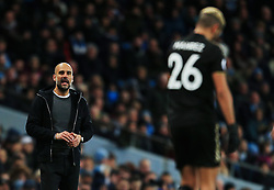 Manchester City manager Pep Guardiola looks towards Riyad Mahrez of Leicester City - Mandatory by-line: Matt McNulty/JMP - 10/02/2018 - FOOTBALL - Etihad Stadium - Manchester, England - Manchester City v Leicester City - Premier League