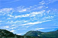 "Cirrus uncinus or ""mares' tails""  clouds over the Kenai Peninsula, Asaska."