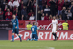 May 9, 2018 - Seville, Spain - KARIM BENZEMA of Real Madrid (C ) laments after missing a chance at goal during the La Liga soccer match between Sevilla FC and Real Madrid at Sanchez Pizjuan Stadium (Credit Image: © Daniel Gonzalez Acuna via ZUMA Wire)