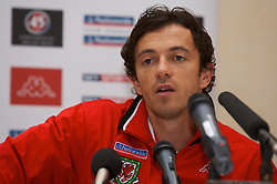 FRANKFURT, GERMANY - Tuesday, November 20, 2007: Wales' captain Simon Davies during a press conference at the Kempinski Hotel ahead of the final UEFA Euro 2008 Qualifying Group D match against Germany. (Pic by David Rawcliffe/Propaganda)