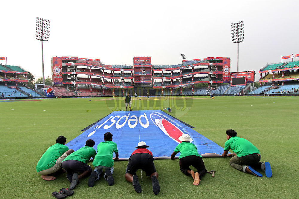 Branding during match 26 of the Pepsi Indian Premier League Season 2014 between the Delhi Daredevils and the Chennai Superkings held at the Ferozeshah Kotla cricket stadium, Delhi, India on the 5th May  2014<br /> <br /> Photo by Deepak Malik / IPL / SPORTZPICS<br /> <br /> <br /> <br /> Image use subject to terms and conditions which can be found here:  http://sportzpics.photoshelter.com/gallery/Pepsi-IPL-Image-terms-and-conditions/G00004VW1IVJ.gB0/C0000TScjhBM6ikg