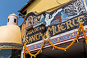 Exterior view of the La Casa De La Santa Muerte or House of the Saint of the Dead November 1, 2017 in Santa Ana Chapitiro, Michoacan, Mexico.