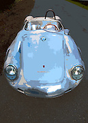 Image of a 1958 silver Porsche 550A Spyder, Washington state, Pacific Northwest, property released