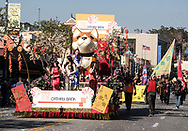 Cathay Bank float moves during the 119th annual Chinese New Year &quot;Golden Dragon Parade&quot; in the streets of Chinatown in Los Angeles, Feburary 17, 2018. (Photo by Ringo Chiu)<br /> <br /> Usage Notes: This content is intended for editorial use only. For other uses, additional clearances may be required.