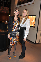 Left to right, sisters GENEVIEVE OSBORNE and MISS ELEANOR CHAPMAN at a party to celebrate the launch of Carol Woolton's book 'Drawing Jewels For Fashion' held at Asprey, 167 New Bond Street, London W1 on 10th November 2011.