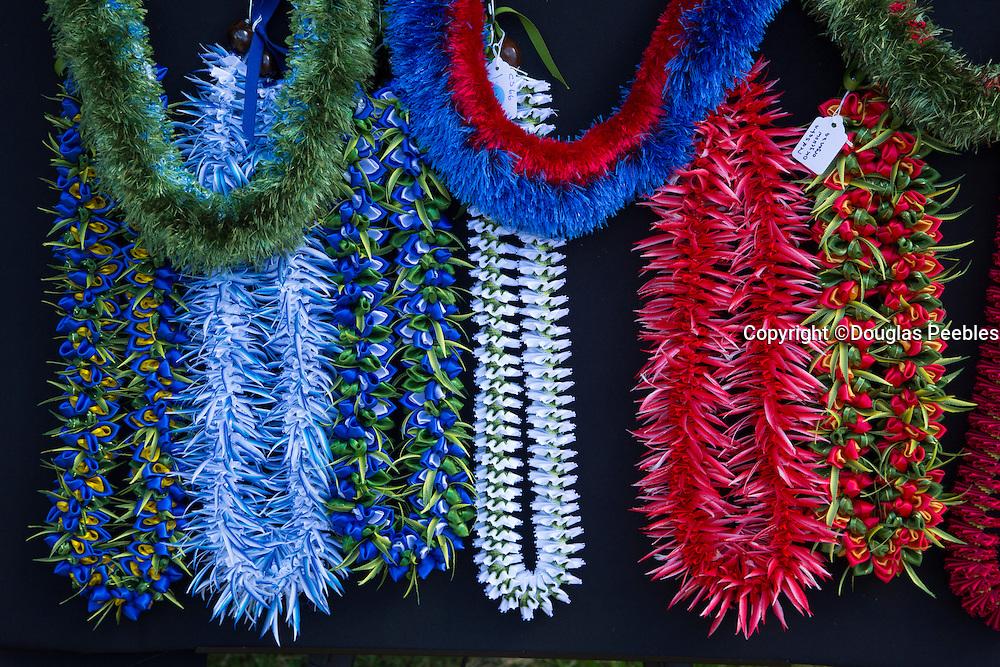 Feather leis, May Day, Kapiolani Park, Waikiki, Oahu, Hawaii