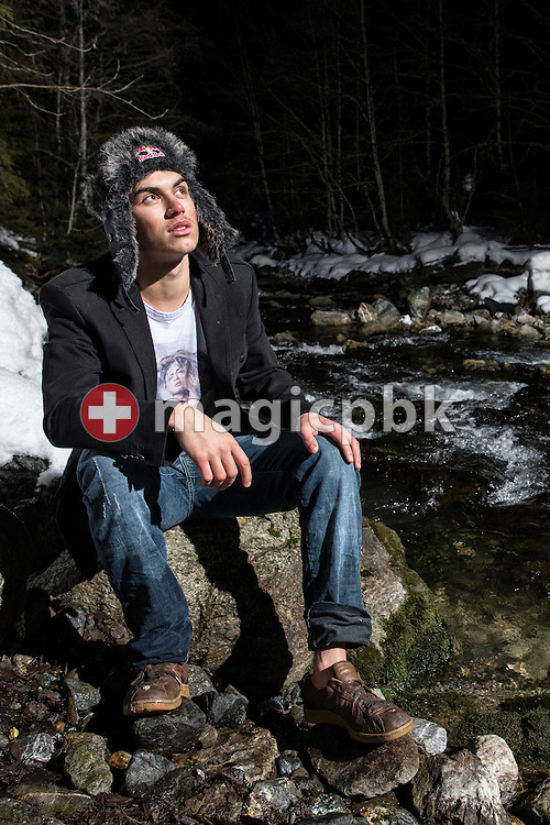 Swiss freeskier Elias AMBUEHL (AMBUHL) of Switzerland is pictured during a portrait photo session at the Plessur creek in Litzirueti, Switzerland, Friday, Feb. 1, 2013. (Photo by Patrick B. Kraemer / MAGICPBK)