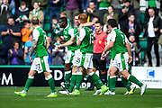 Hibernian players celebrate Hibernian's second goal (2-1) scored by Hibernian defender Steven Whittaker (#3) during the Ladbrokes Scottish Premiership match between Hibernian and Partick Thistle at Easter Road, Edinburgh, Scotland on 5 August 2017. Photo by Craig Doyle.