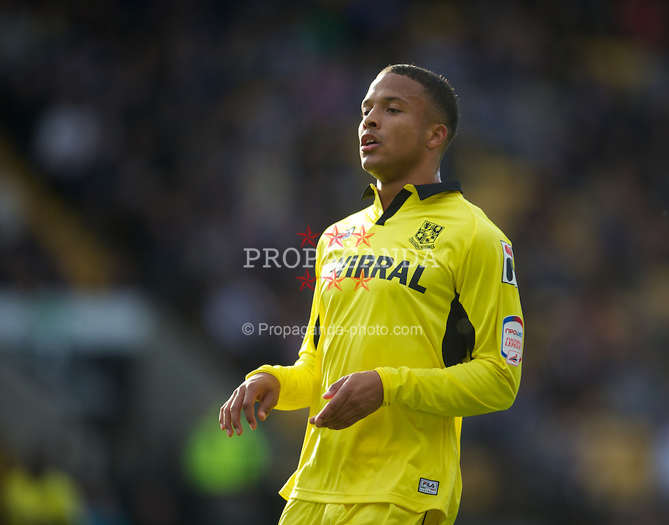 NOTTINGHAM, ENGLAND - Saturday, October 6, 2012: Tranmere Rovers' Joe Thompson in action against Notts County during the Football League One match at Meadow Lane. (Pic by David Rawcliffe/Propaganda)