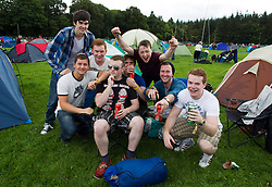 Jonathan Clery, Brian Murphy, Eoin Sheahan, Jack Curtis, Jason Ahern, cormack Malloy, connor Dero and Luke Bartlett from Kilarney are pictured setting up camp on the opening day of Electric Picnic 2013. Picture Andres Poveda