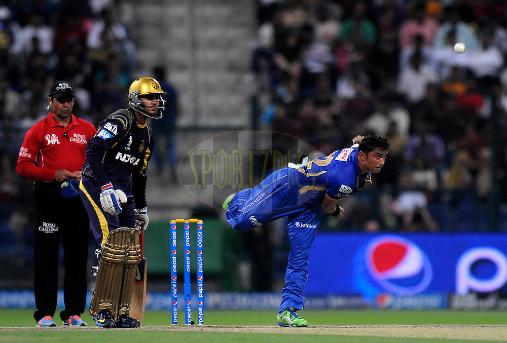 Pravin Tambe of the Rajatshan Royals bowls during match 19 of the Pepsi Indian Premier League 2014 Season between The Kolkata Knight Riders and the Rajasthan Royals held at the Sheikh Zayed Stadium, Abu Dhabi, United Arab Emirates on the 29th April 2014<br /> <br /> Photo by Pal Pillai / IPL / SPORTZPICS