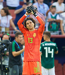 MOSCOW, RUSSIA - Sunday, June 17, 2018: Mexico's goalkeeper Guillermo Ochoa celebrates after his side's 1-0 victory over Germany during the FIFA World Cup Russia 2018 Group F match between Germany and Mexico at the Luzhniki Stadium. (Pic by David Rawcliffe/Propaganda)
