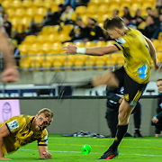 Beauden Barrett kicks conversion during the Super rugby (Round 12) match played between Hurricanes  v Lions, at Westpac Stadium, Wellington, New Zealand, on 5 May 2018.  Hurricanes won 28-19.