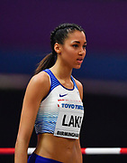 Morgan Lake (GBR) places fourth in the women's high jump at 6-4 (1.93m) during the IAAF World Indoor Championships at Arena Birmingham in Birmingham, United Kingdom on Thursday, Mar 1, 2018. (Steve Flynn/Image of Sport)