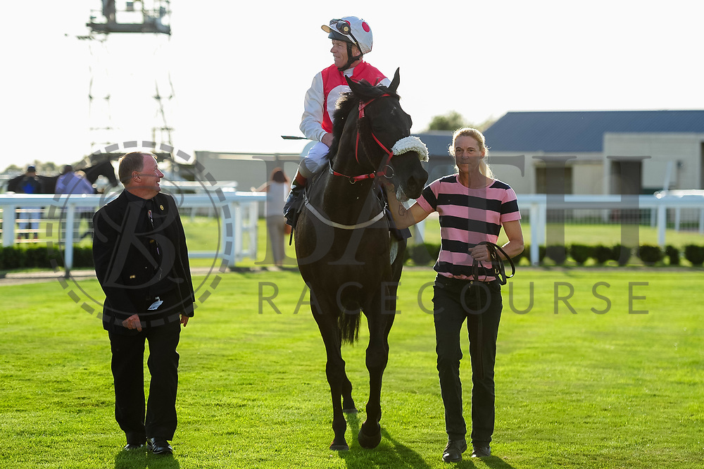 Secretfact ridden by Jimmy Quinn and trained by Malcolm Saunders in the Lovely Louise Hudson Birthday Handicap race.  - Ryan Hiscott/JMP - 14/09/2019 - PR - Bath Racecourse - Bath, England - Race Meeting at Bath Racecourse