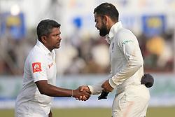 July 29, 2017 - Galle, Sri Lanka - Indian cricket captain Virat Kohli(R) shakes hands with Sri Lankan captain Rangana Herath after India defeated Sri Lanka by 304 runs during the 4th Day's play in the 1st Test match between Sri Lanka and India at the Galle cricket stadium, Galle, Sri Lanka on Saturday 29 July 2017. (Credit Image: © Tharaka Basnayaka/NurPhoto via ZUMA Press)